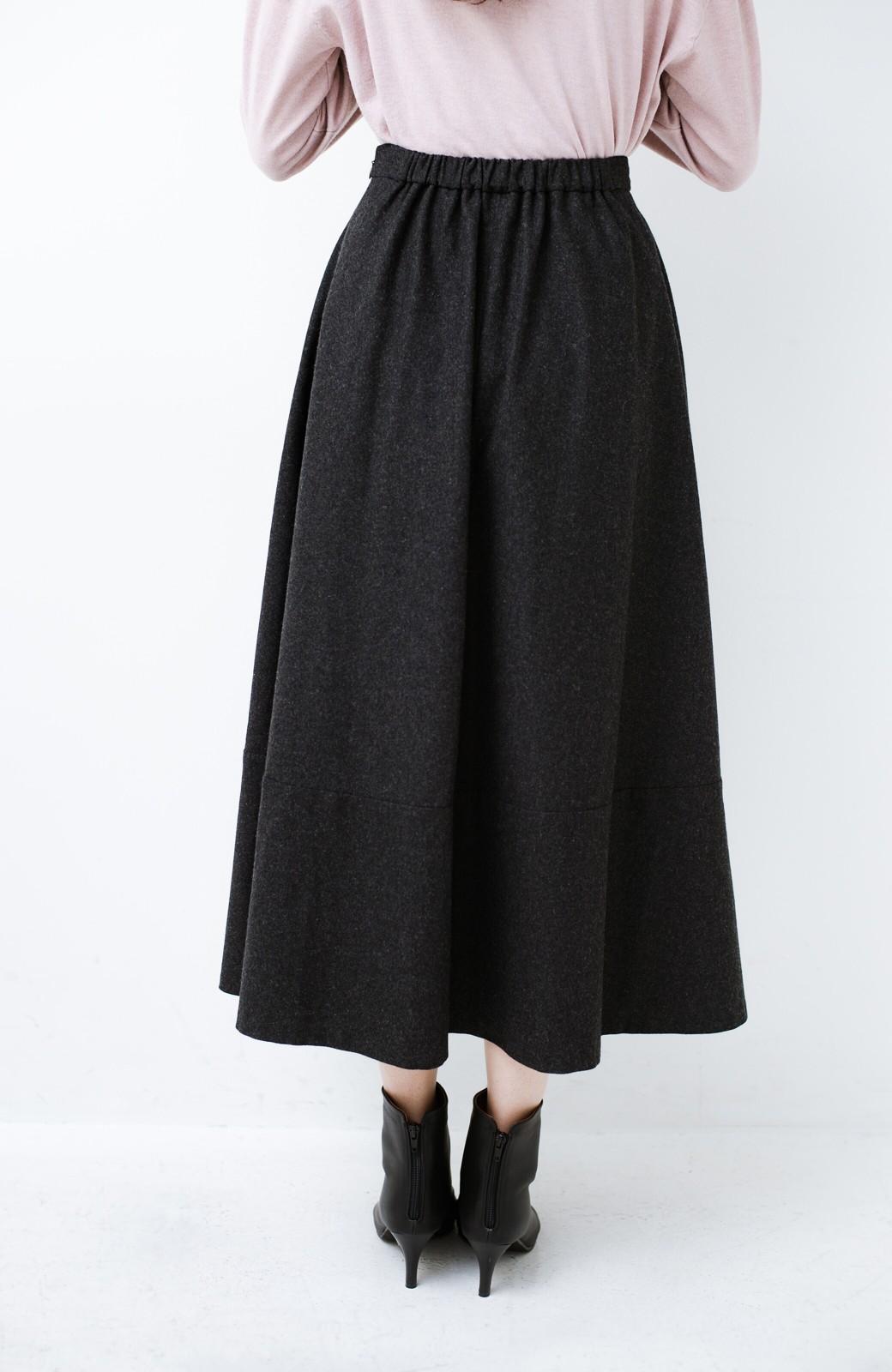 haco! ウール混であったか&大人っぽ!フレアーロングスカート <チャコールグレー>の商品写真7