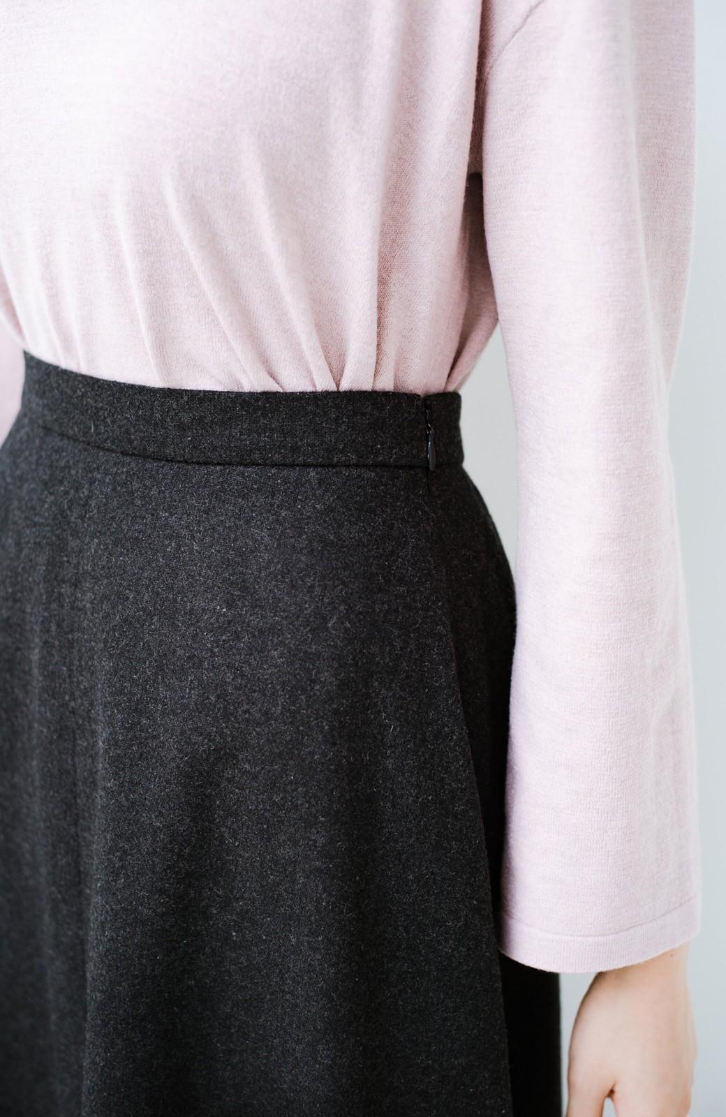 haco! ウール混であったか&大人っぽ!フレアーロングスカート <チャコールグレー>の商品写真8
