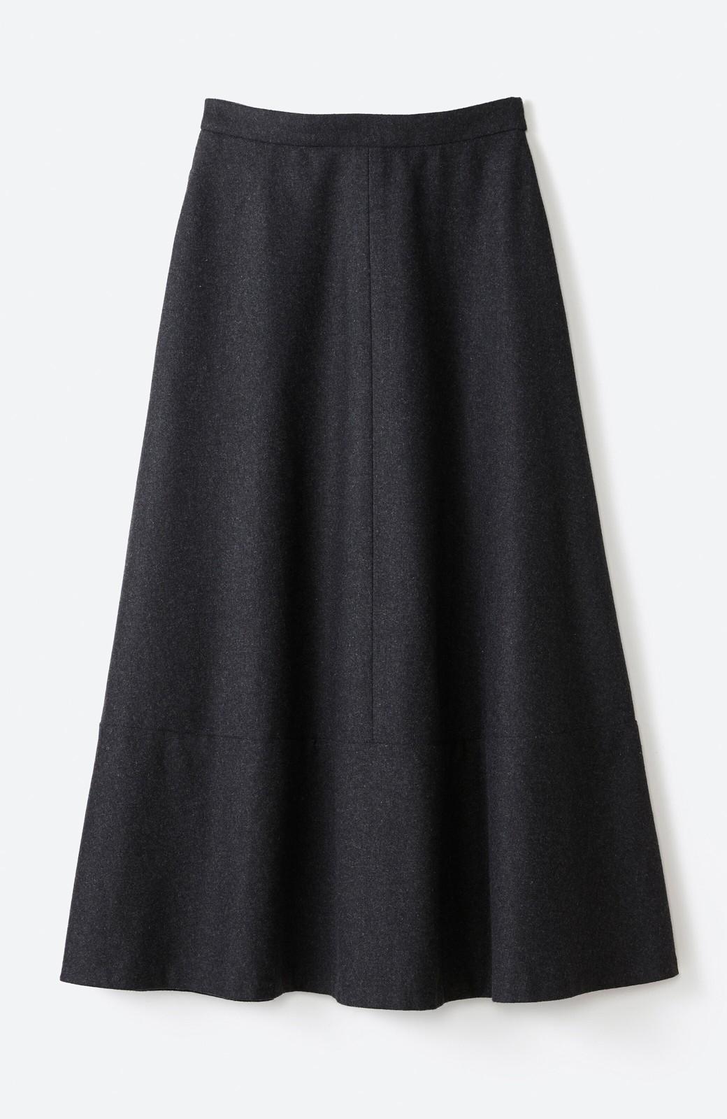 haco! ウール混であったか&大人っぽ!フレアーロングスカート <チャコールグレー>の商品写真15