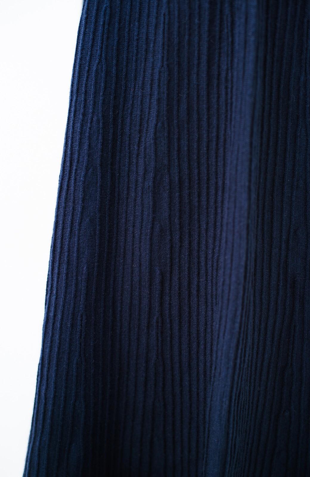 haco! 寝坊した朝でもばれないくらいきれいに見えるプリーツ風ニットワンピース <ネイビー>の商品写真7