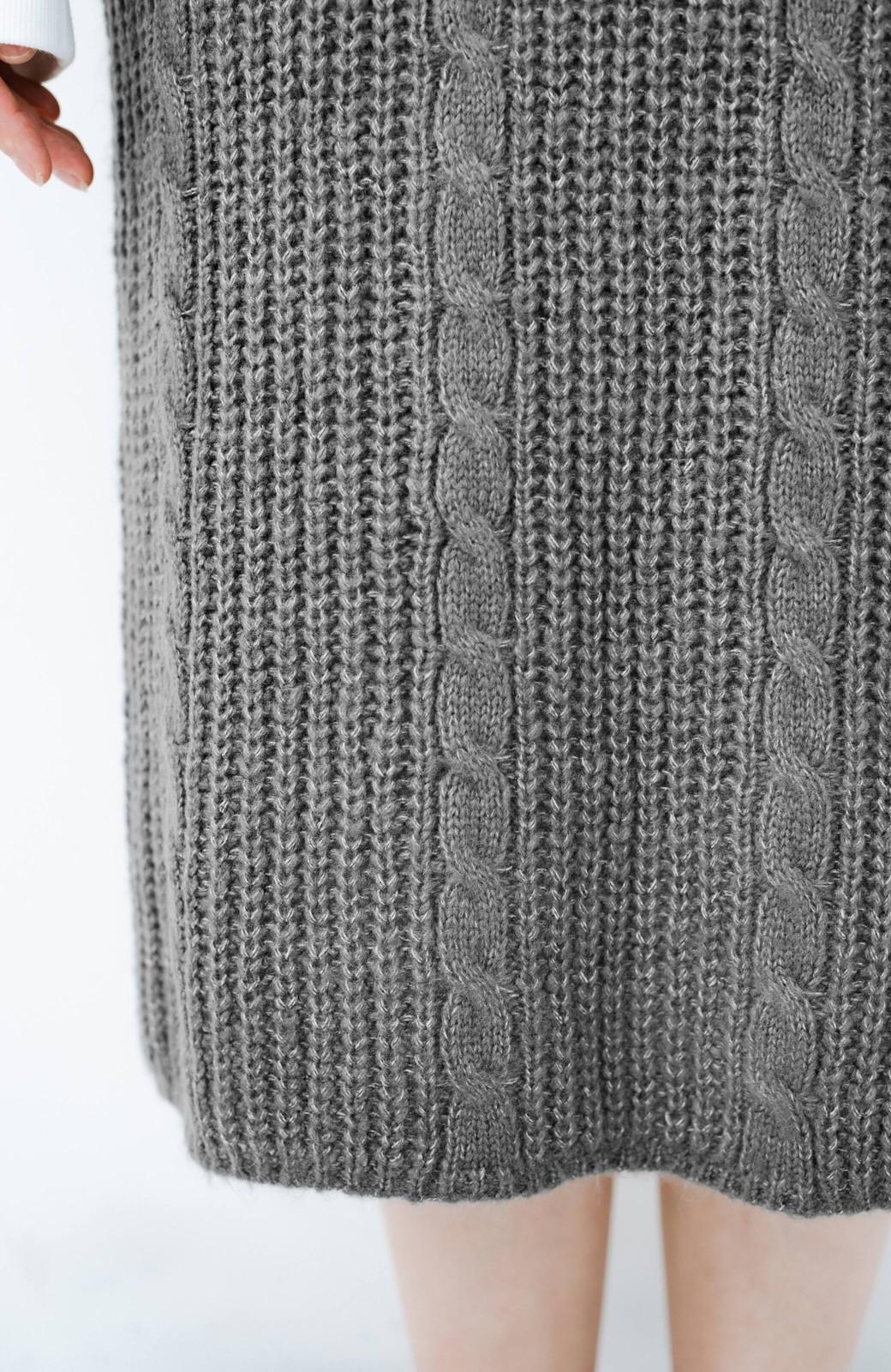 haco! しまった!寝坊した!ってときにも安心なケーブル編みがかわいいニットアップ <グレー>の商品写真8