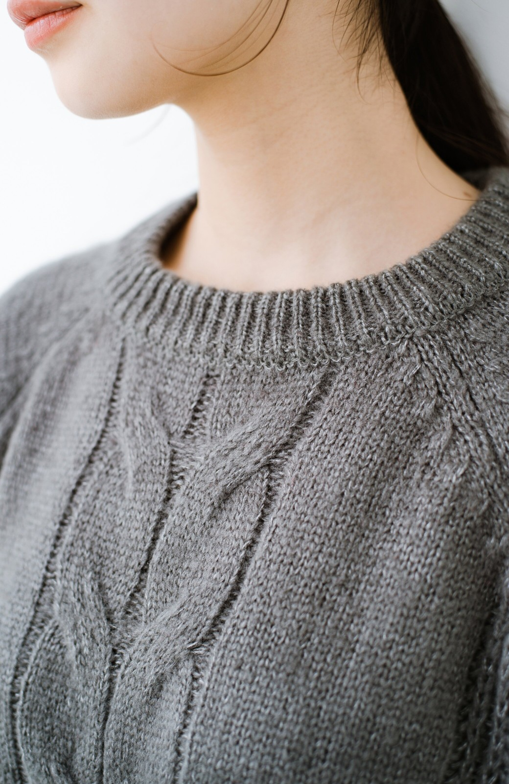 haco! しまった!寝坊した!ってときにも安心なケーブル編みがかわいいニットアップ <グレー>の商品写真6