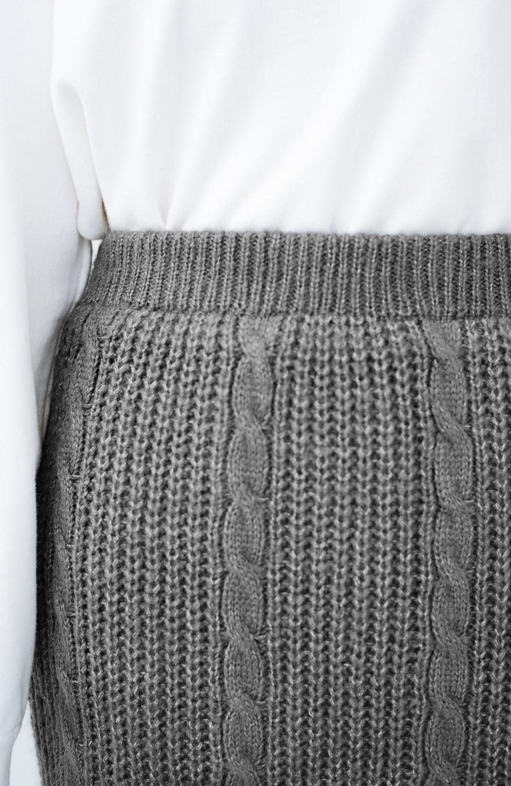 haco! しまった!寝坊した!ってときにも安心なケーブル編みがかわいいニットアップ <グレー>の商品写真7