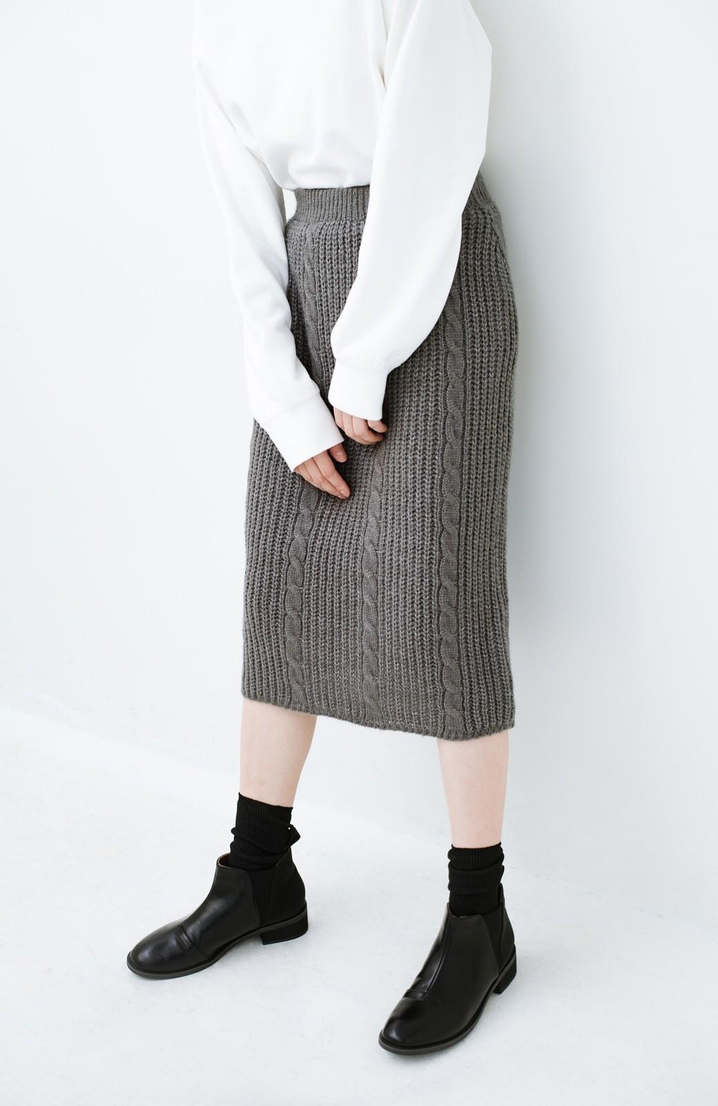 haco! しまった!寝坊した!ってときにも安心なケーブル編みがかわいいニットアップ <グレー>の商品写真29