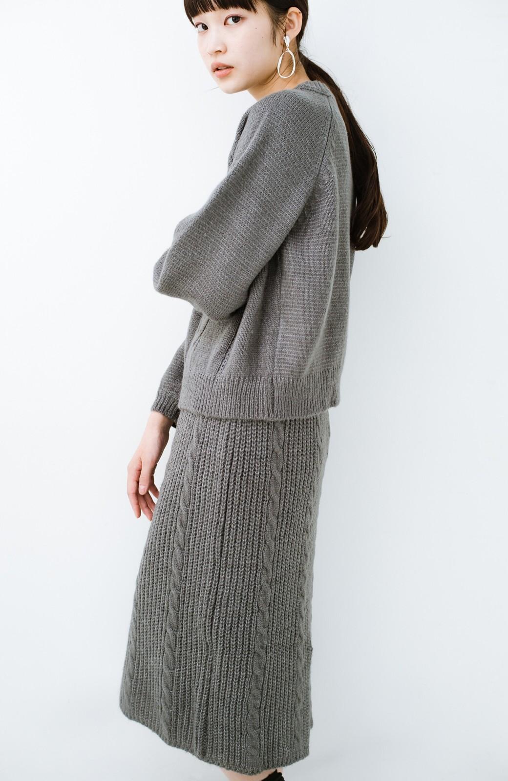 haco! しまった!寝坊した!ってときにも安心なケーブル編みがかわいいニットアップ <グレー>の商品写真21