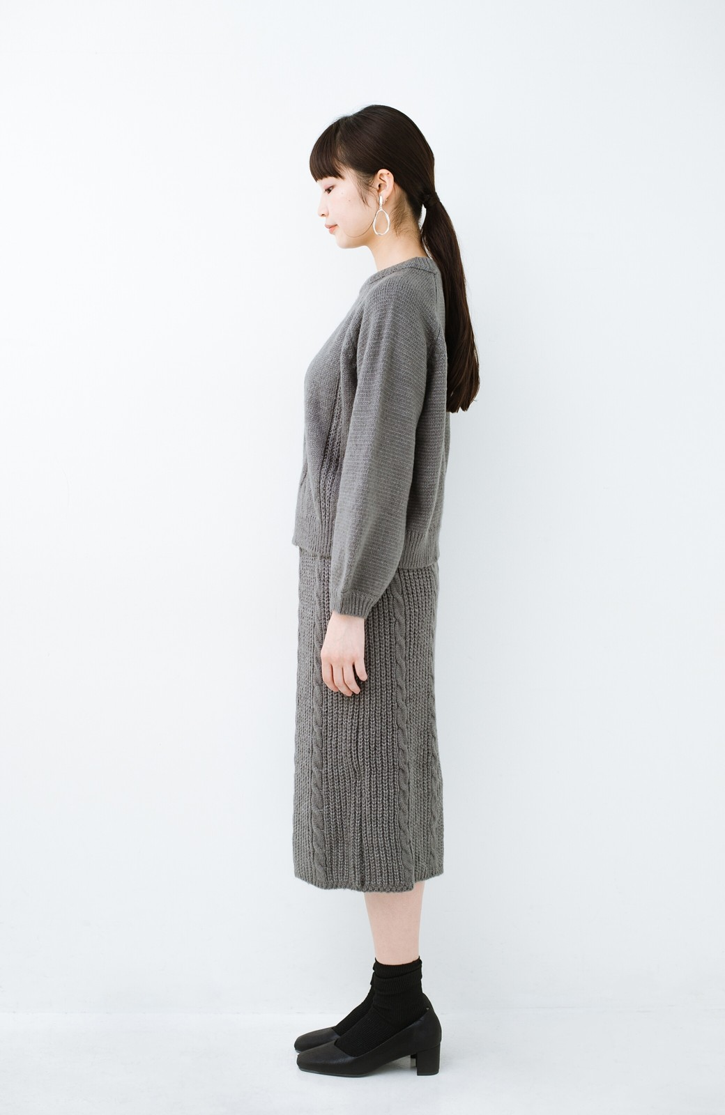 haco! しまった!寝坊した!ってときにも安心なケーブル編みがかわいいニットアップ <グレー>の商品写真14