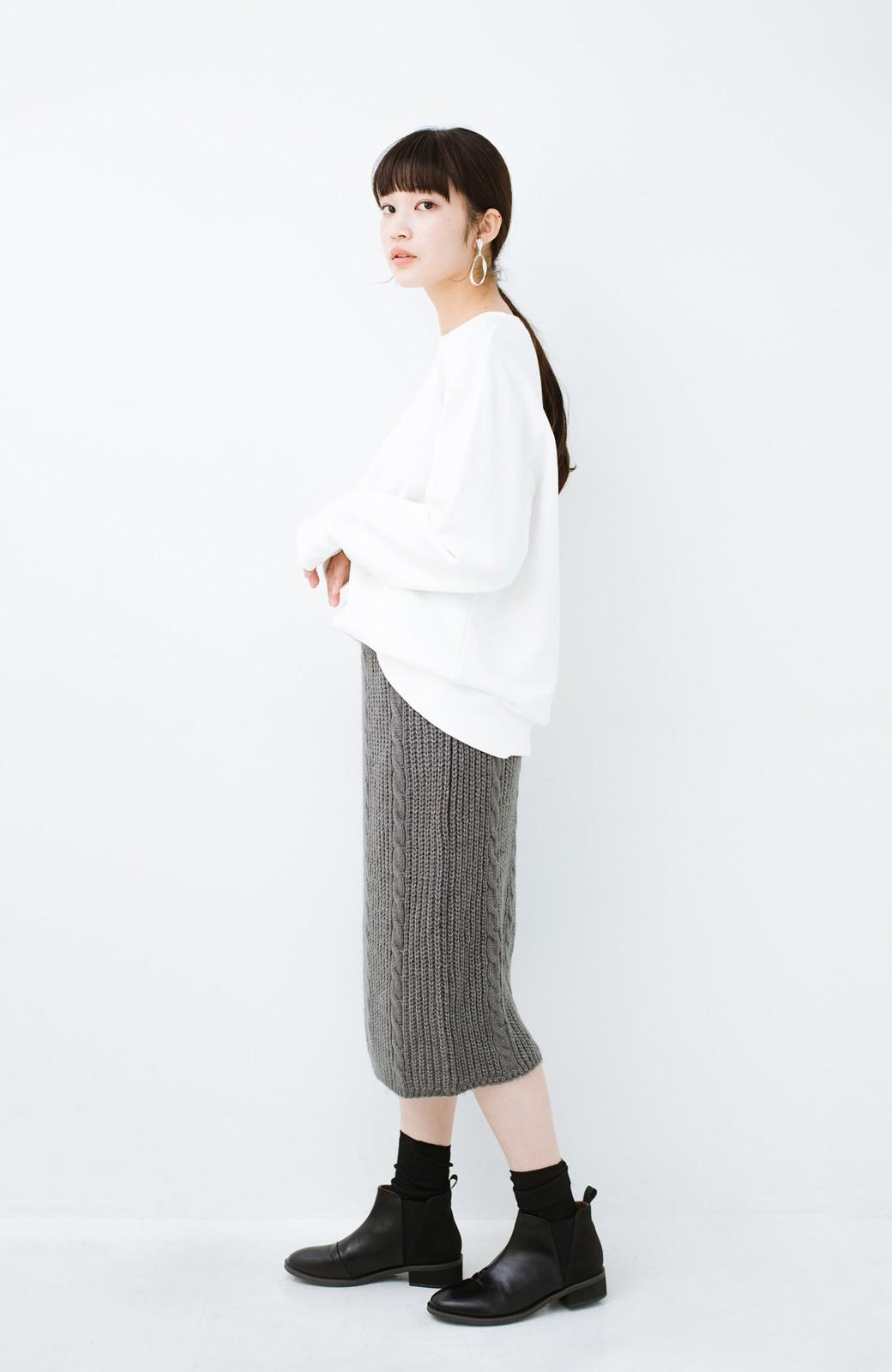 haco! しまった!寝坊した!ってときにも安心なケーブル編みがかわいいニットアップ <グレー>の商品写真17