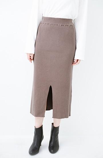 haco! すっきり見えて大人っぽい!ゆるトップスとの相性抜群なリブニットタイトスカート <グレイッシュベージュ>の商品写真