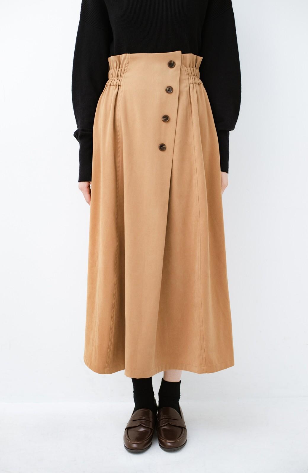 haco! 楽ちんなのにきれい見せが叶う ボタンがポイントの大人スカート <ベージュ>の商品写真4