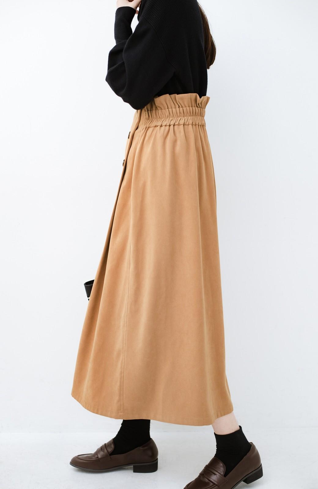 haco! 楽ちんなのにきれい見せが叶う ボタンがポイントの大人スカート <ベージュ>の商品写真7