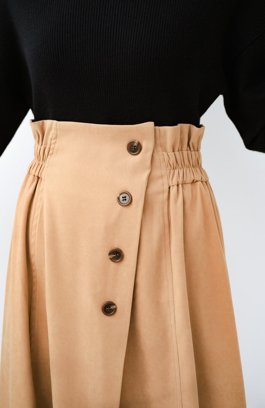 haco! 楽ちんなのにきれい見せが叶う ボタンがポイントの大人スカート <ベージュ>の商品写真9