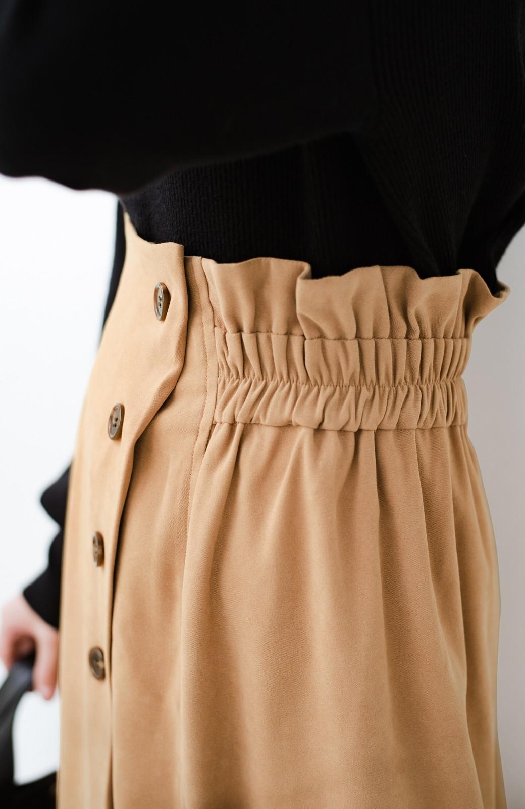 haco! 楽ちんなのにきれい見せが叶う ボタンがポイントの大人スカート <ベージュ>の商品写真10