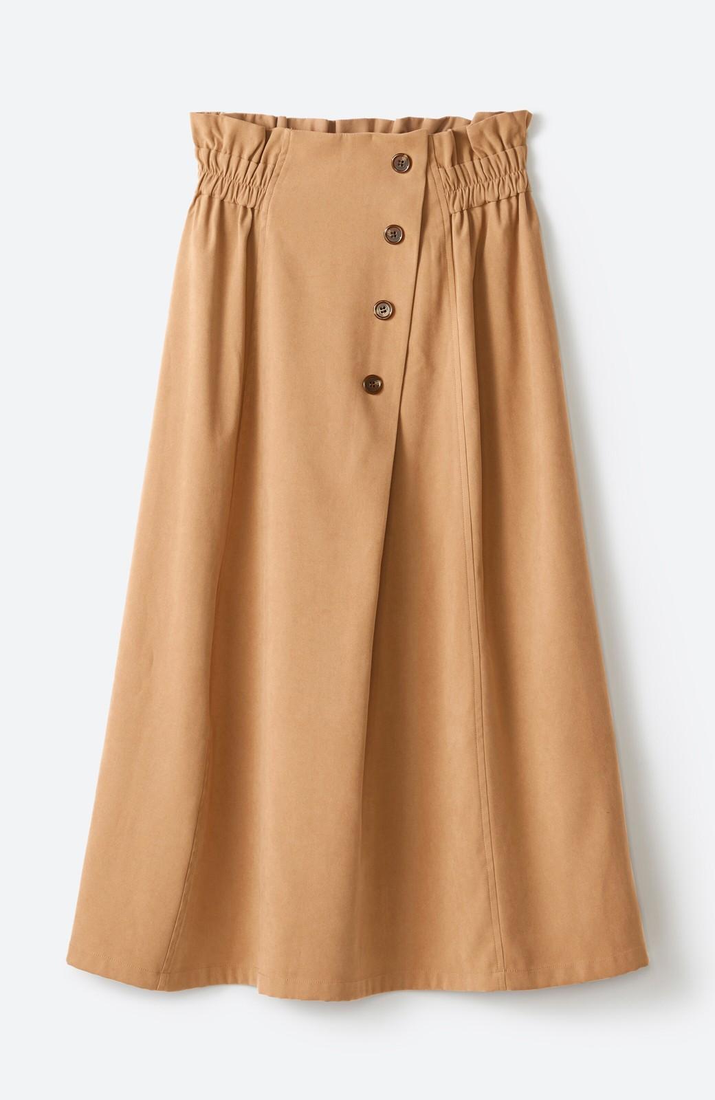 haco! 楽ちんなのにきれい見せが叶う ボタンがポイントの大人スカート <ベージュ>の商品写真14