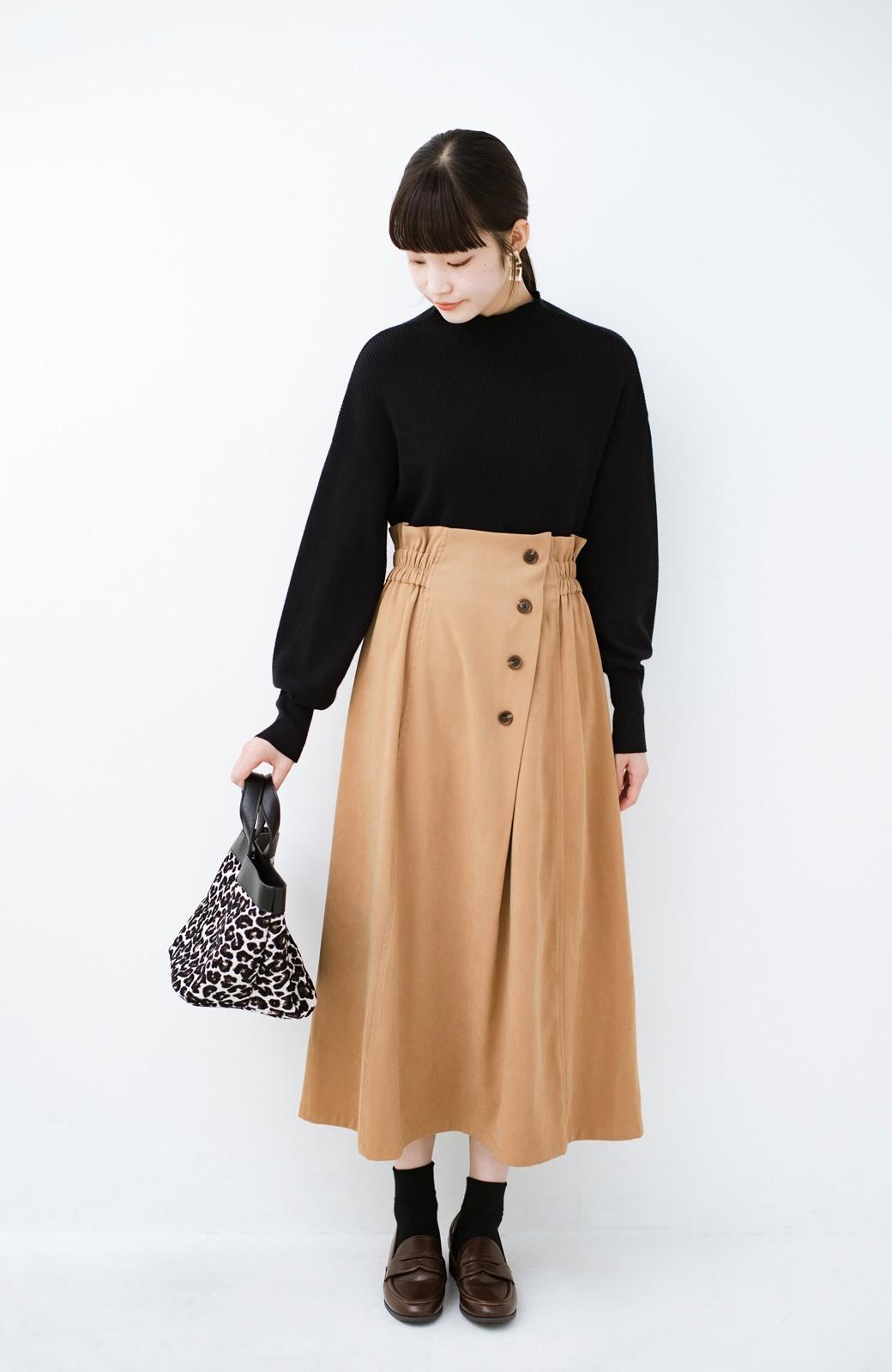 haco! 楽ちんなのにきれい見せが叶う ボタンがポイントの大人スカート <ベージュ>の商品写真11