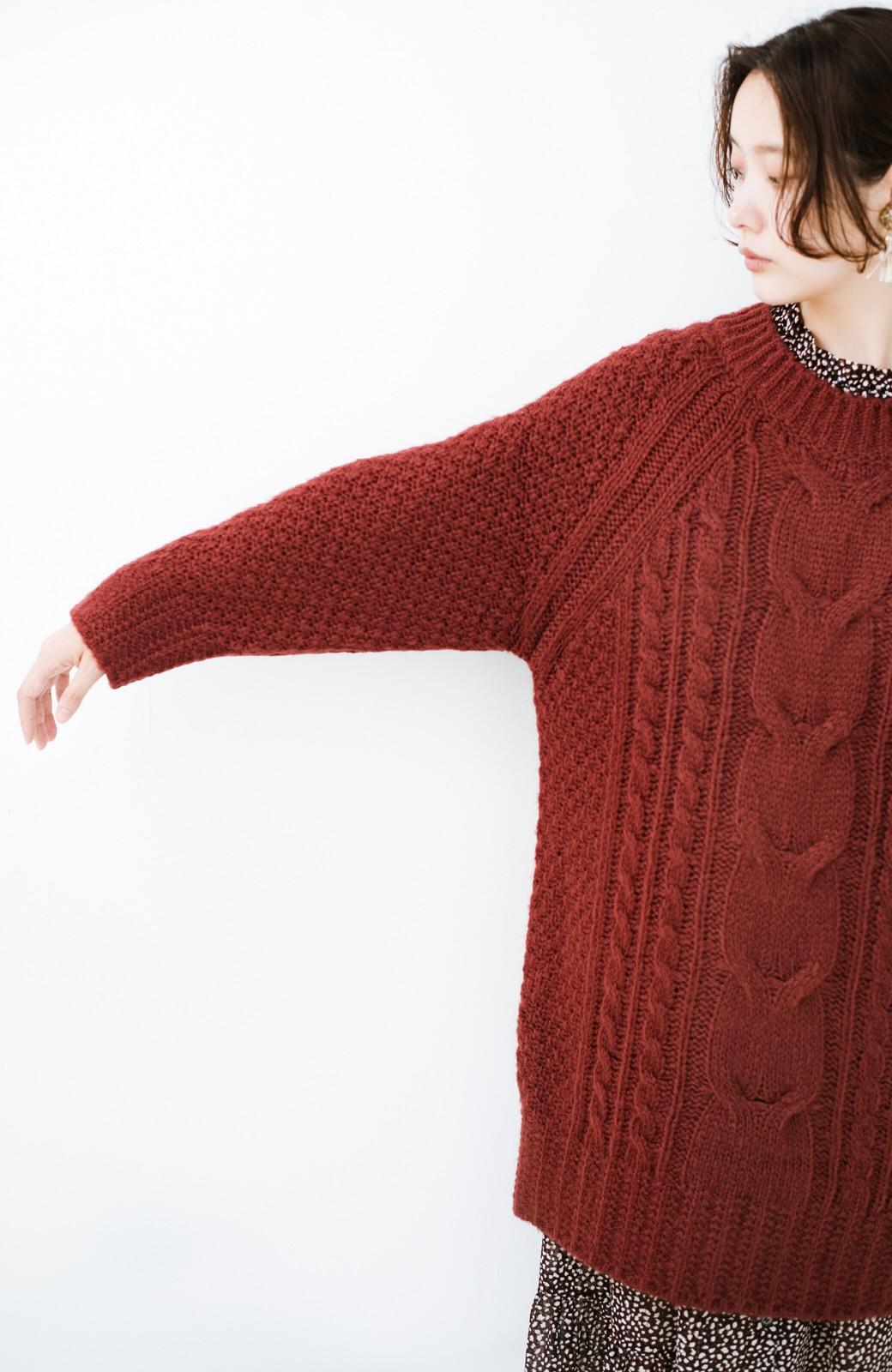 haco! あったかくてかわいくてそのうえ体形を隠してくれる!ケーブル編みのニットチュニック <ボルドー>の商品写真8