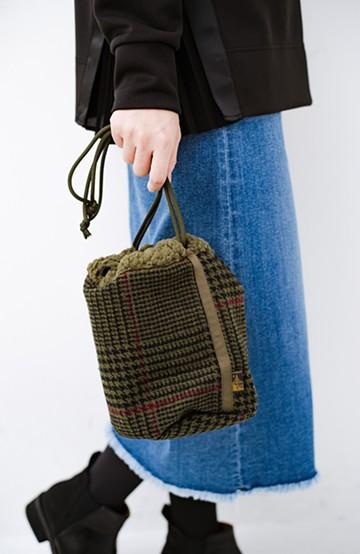 haco! SUBLIME もこもこボア付き千鳥格子のアクセント巾着バッグ <オリーブ>の商品写真