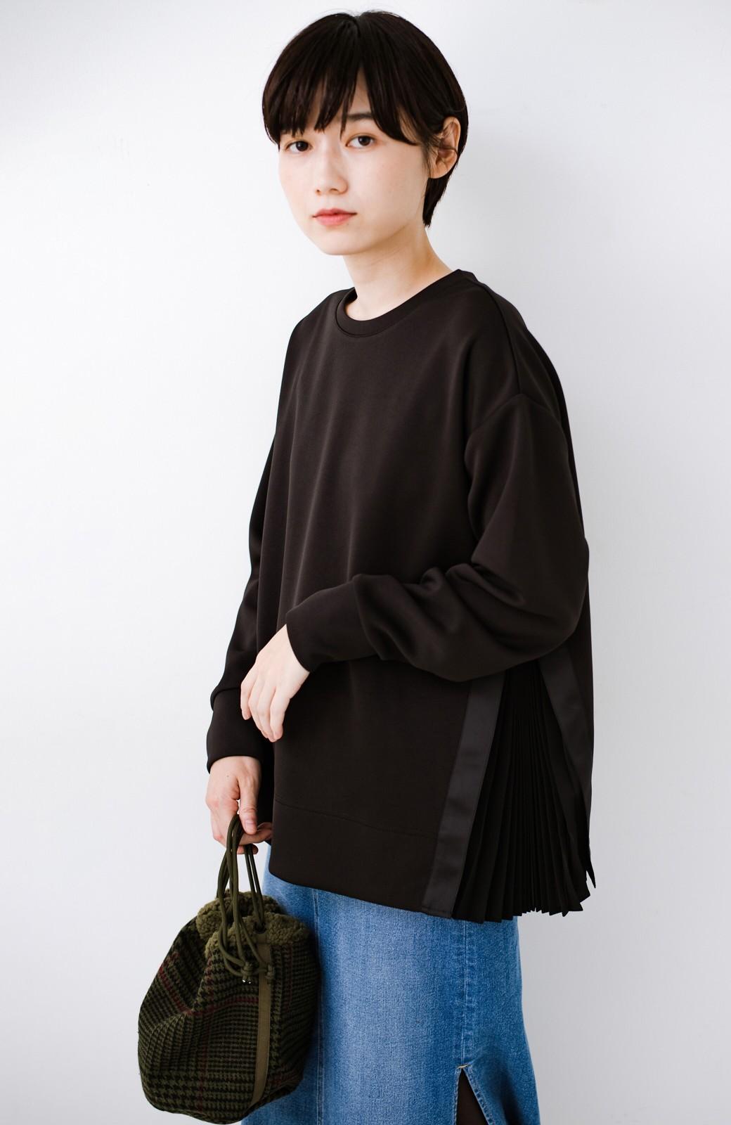 haco! SUBLIME もこもこボア付き千鳥格子のアクセント巾着バッグ <オリーブ>の商品写真7