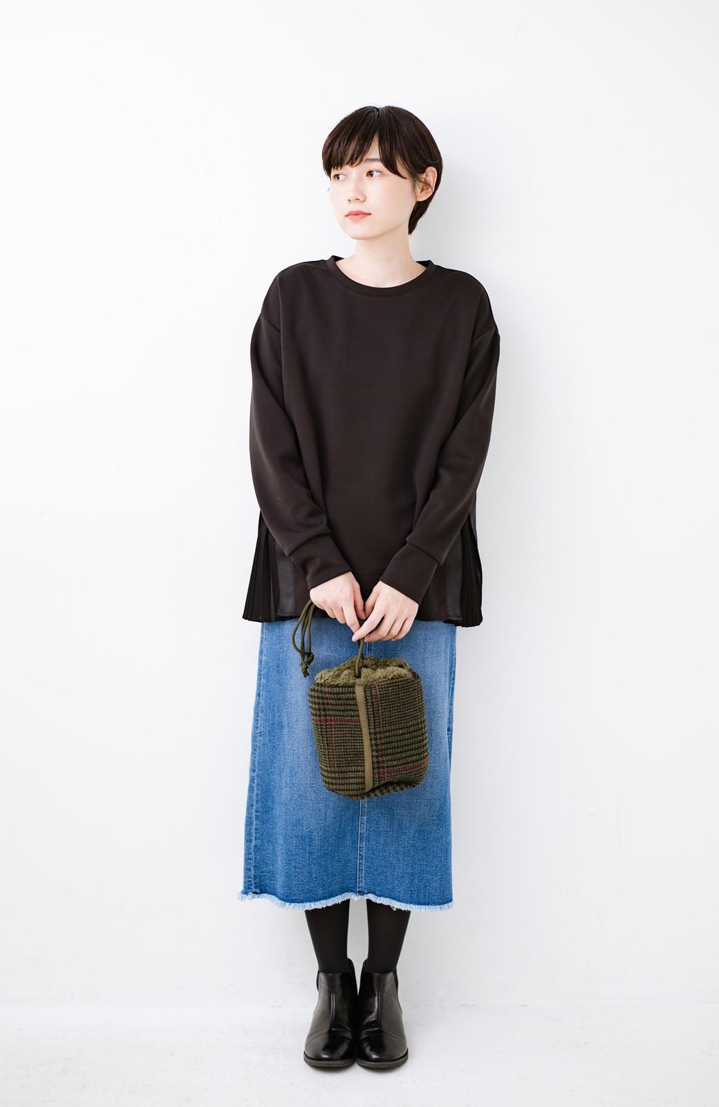 haco! SUBLIME もこもこボア付き千鳥格子のアクセント巾着バッグ <オリーブ>の商品写真5