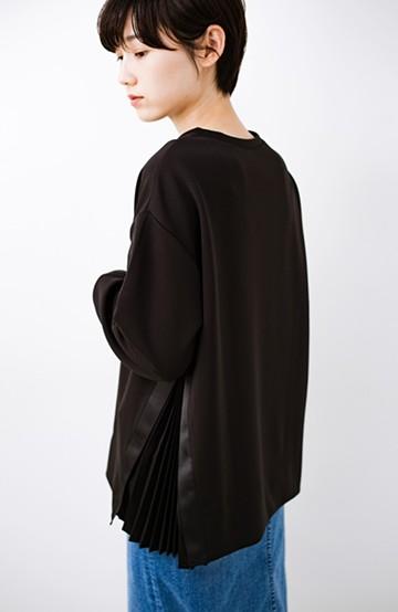 haco! パッと着るだけで今っぽオシャレになれる サイドプリーツスウェット<ブラック>の商品写真