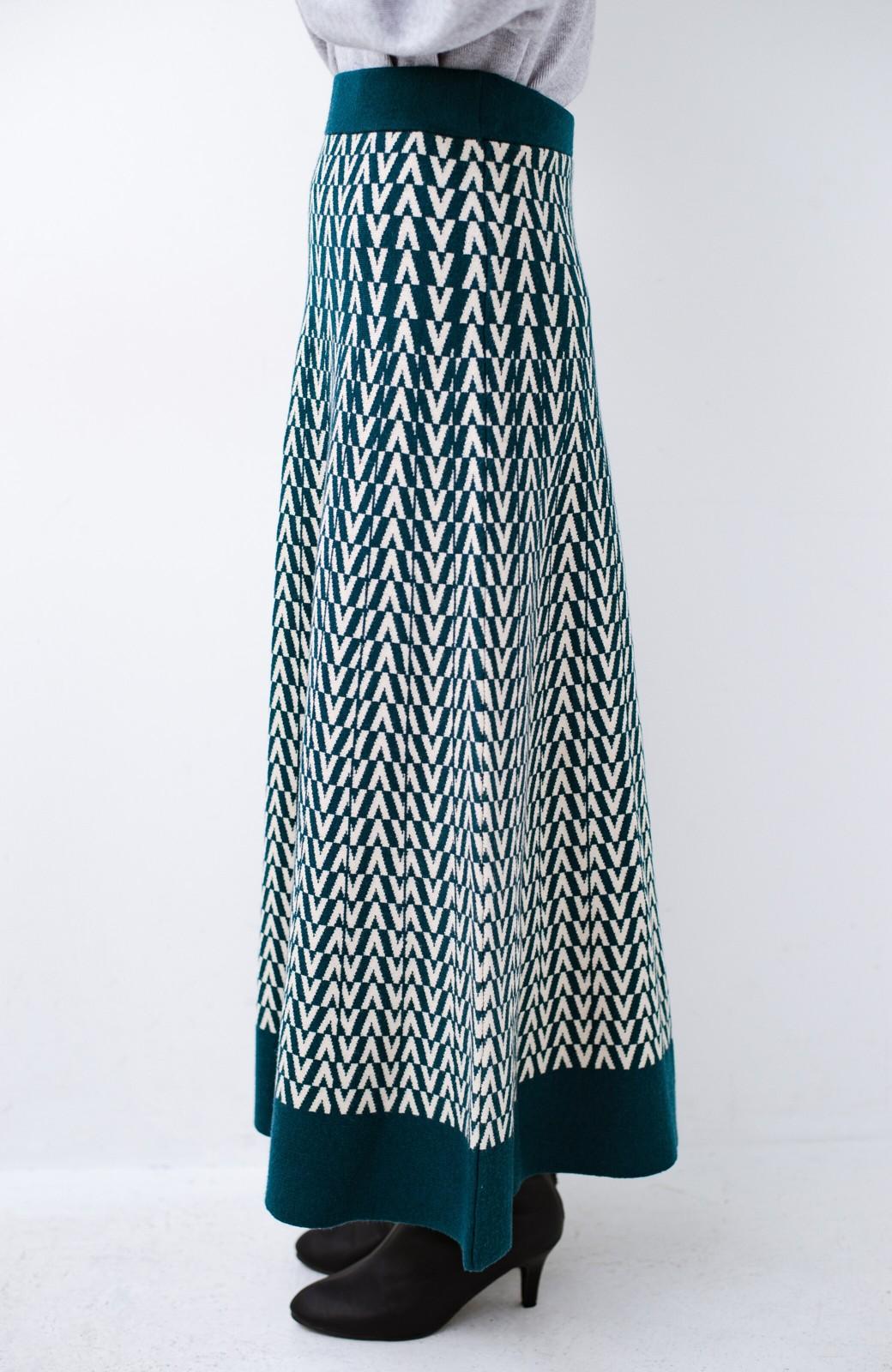 haco! シンプルトップスと合わせるだけでコーデがオシャレ&華やかになる ジャカードニットスカート <グリーン系その他>の商品写真6