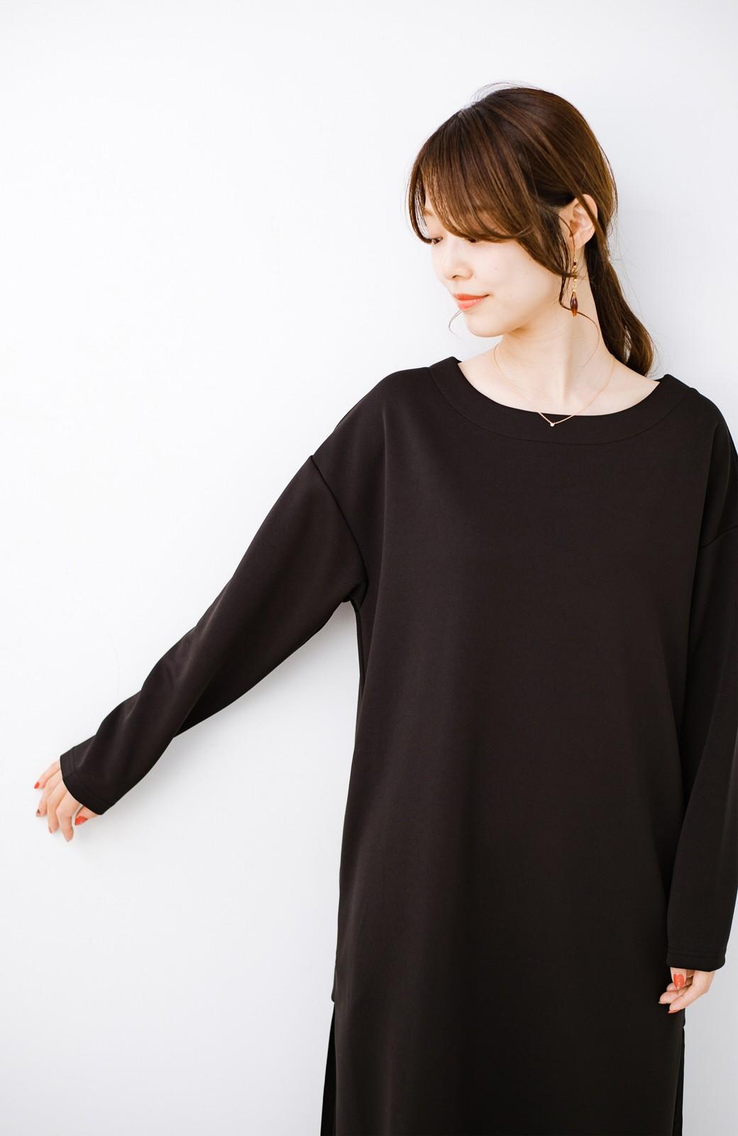 haco! 前はシンプルで着やすい&後ろ姿は最高にかわいい プリーツスウェットワンピース <ブラック>の商品写真15