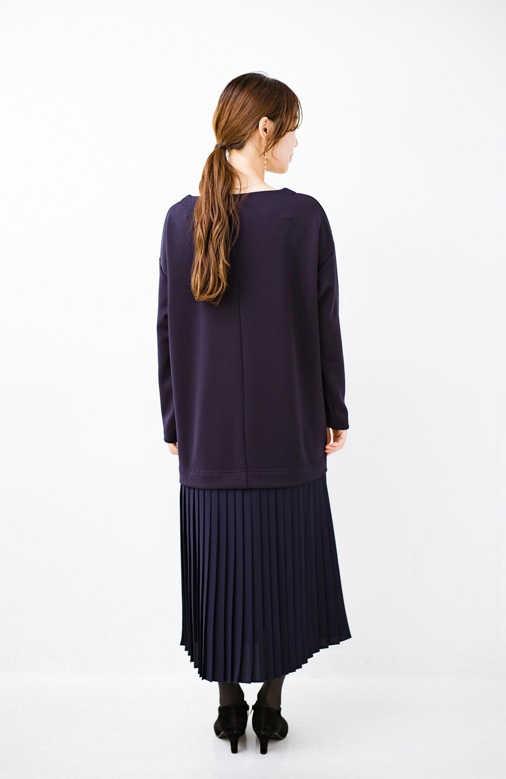 haco! 前はシンプルで着やすい&後ろ姿は最高にかわいい プリーツスウェットワンピース <ネイビー>の商品写真11