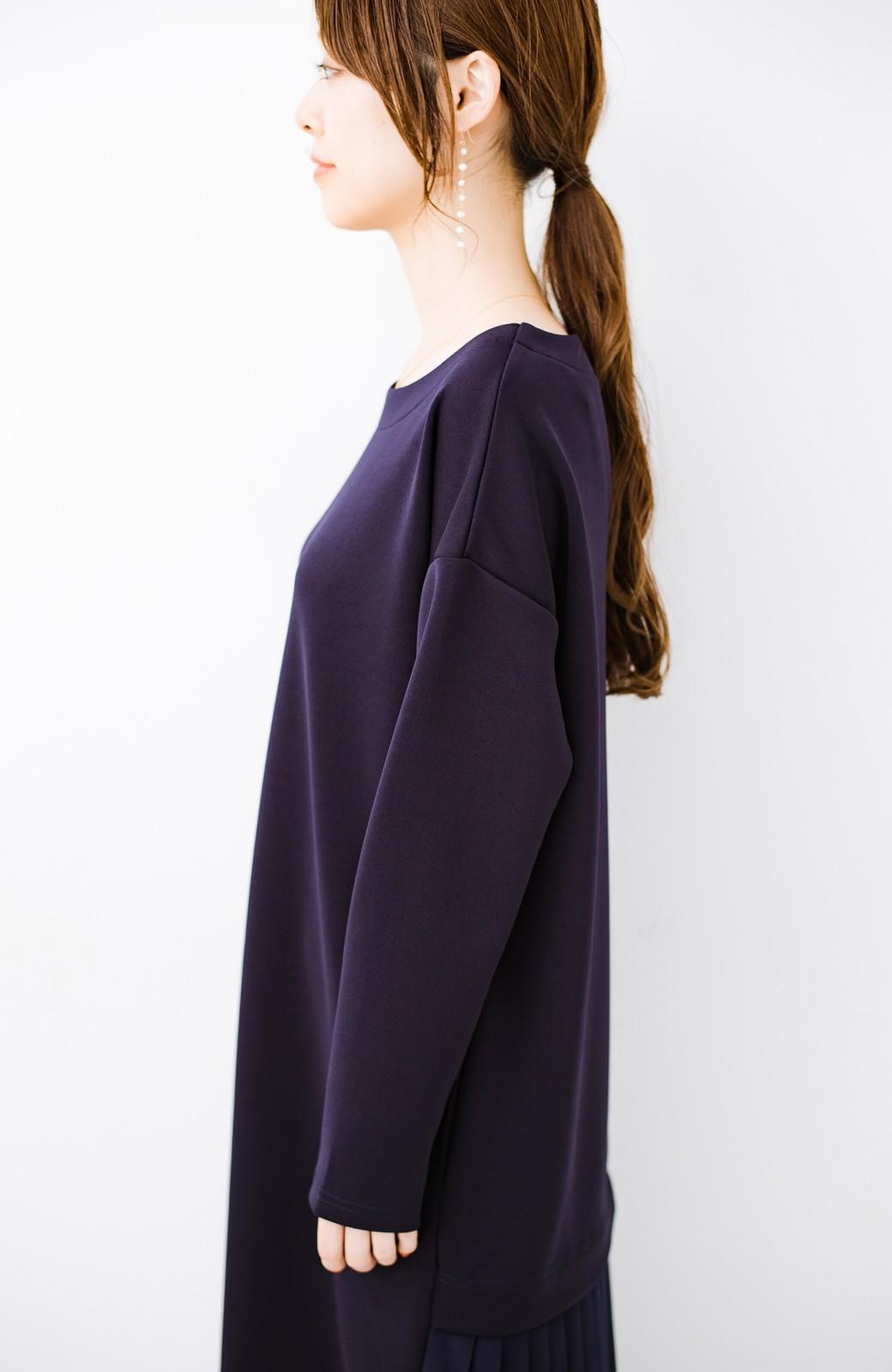 haco! 前はシンプルで着やすい&後ろ姿は最高にかわいい プリーツスウェットワンピース <ネイビー>の商品写真15