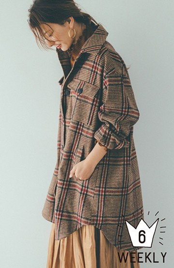 haco! 【スザンヌさんコラボ】ビッグシルエットのタータンチェックジャケット by LOVE&PEACE PROJECT <ベージュ系その他>の商品写真
