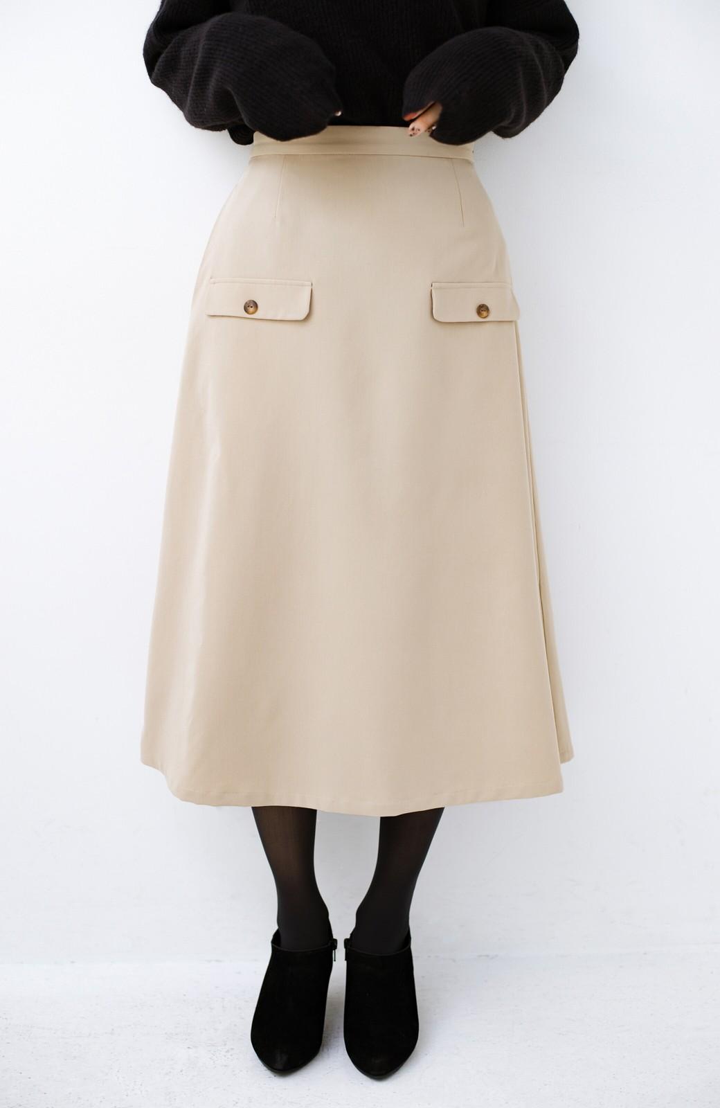 haco! オフィスにもデートにもぴったりなきれいシルエットのAラインスカート <ベージュ>の商品写真4