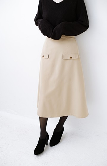 haco! オフィスにもデートにもぴったりなきれいシルエットのAラインスカート <ベージュ>の商品写真