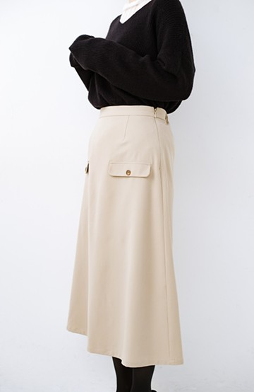 haco! オフィスにもデートにもぴったりなきれいシルエットのAラインスカート<ベージュ>の商品写真
