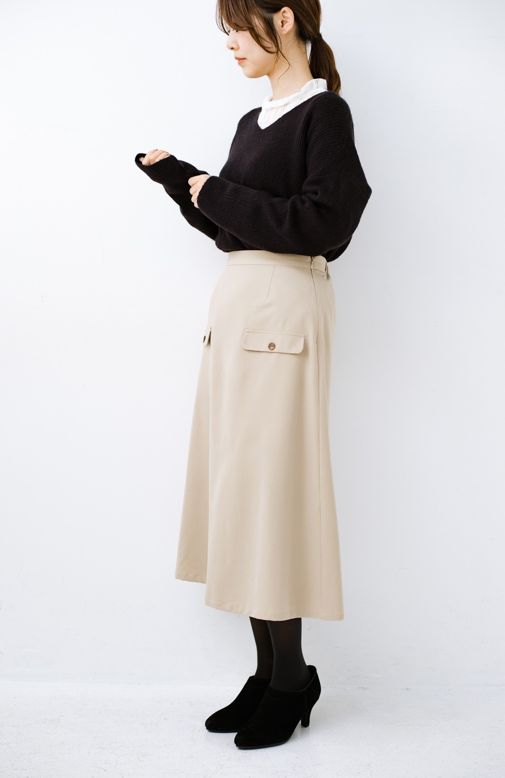 haco! オフィスにもデートにもぴったりなきれいシルエットのAラインスカート <ベージュ>の商品写真13