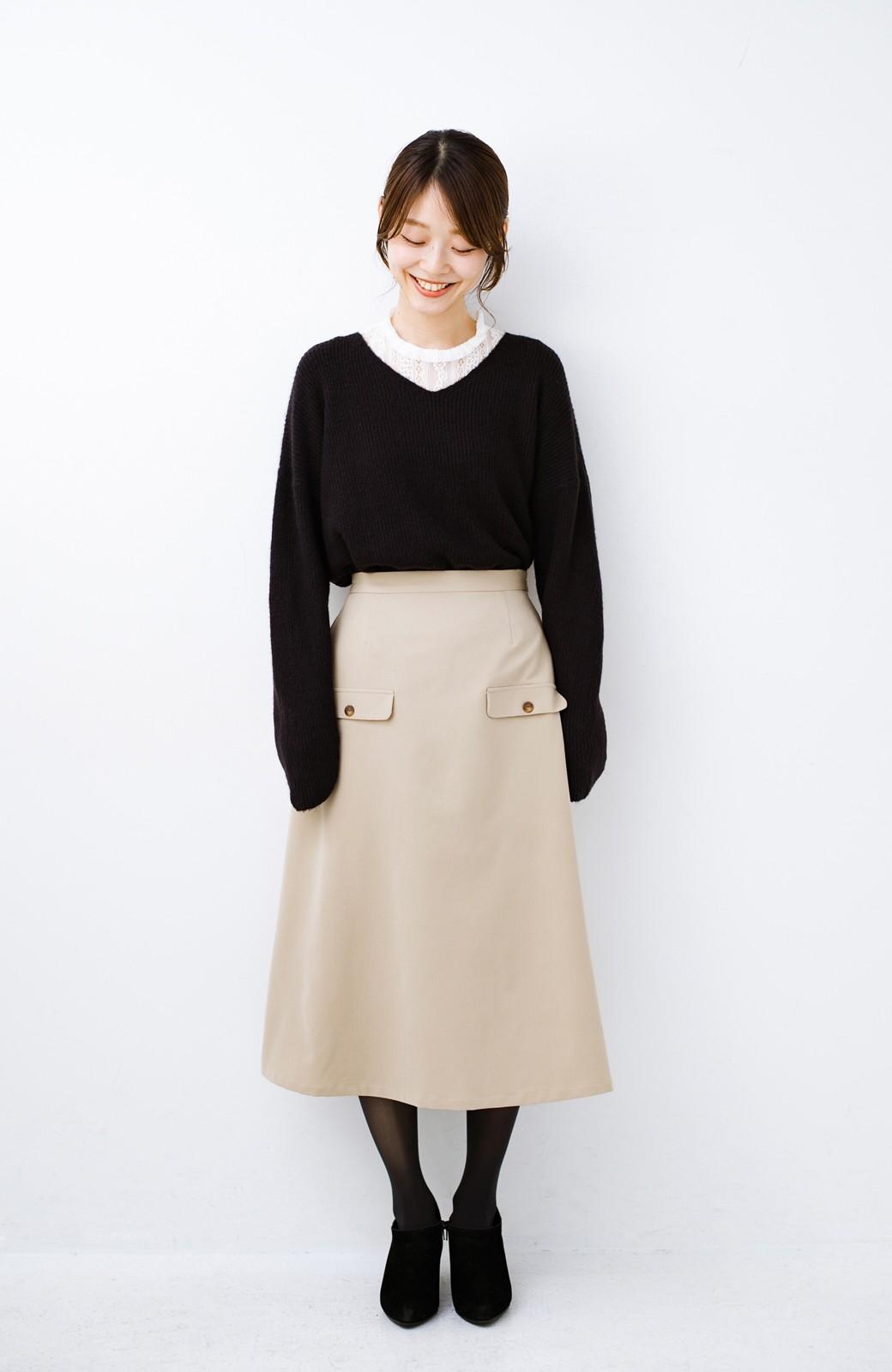 haco! オフィスにもデートにもぴったりなきれいシルエットのAラインスカート <ベージュ>の商品写真11