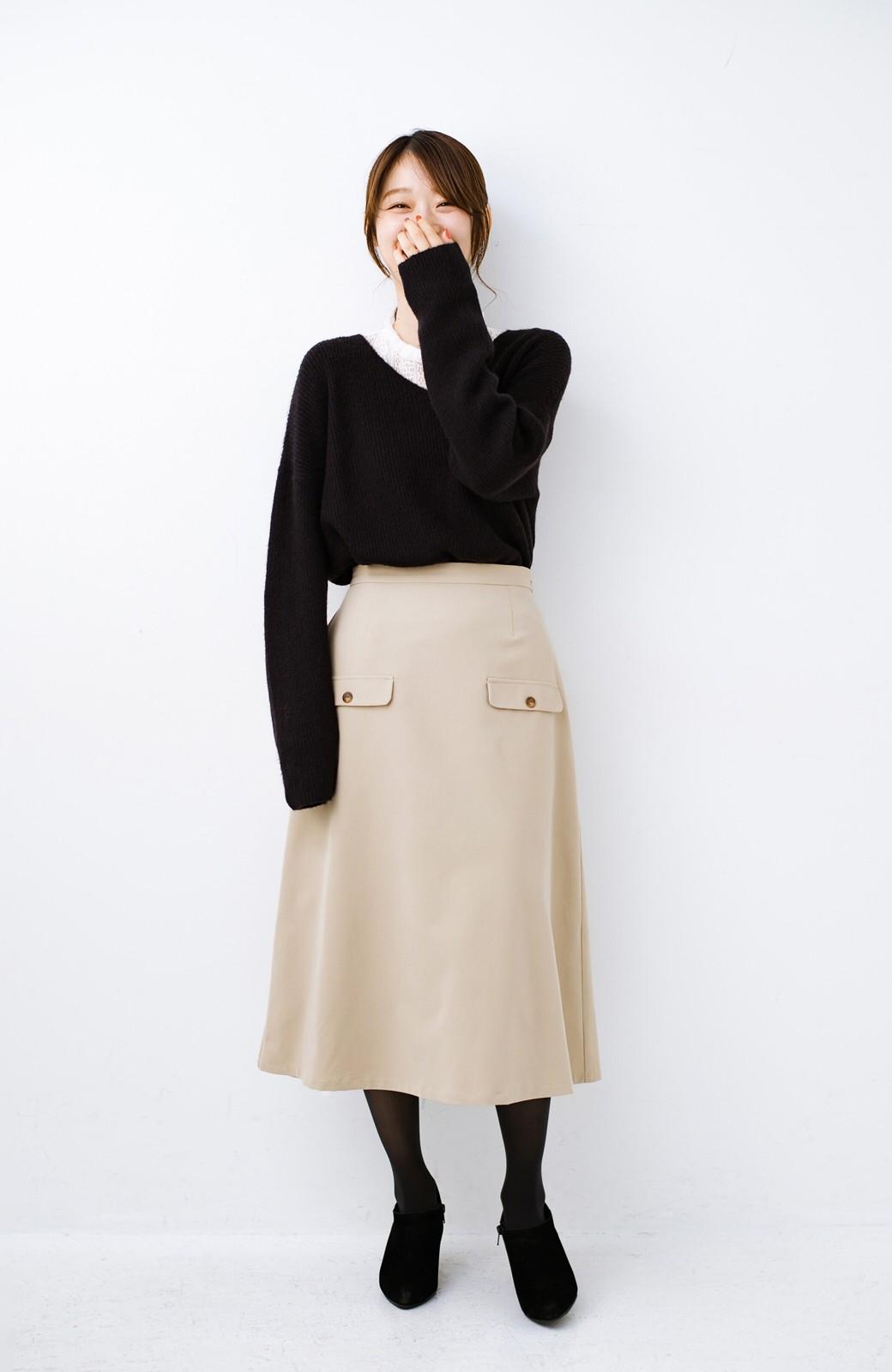 haco! オフィスにもデートにもぴったりなきれいシルエットのAラインスカート <ベージュ>の商品写真3