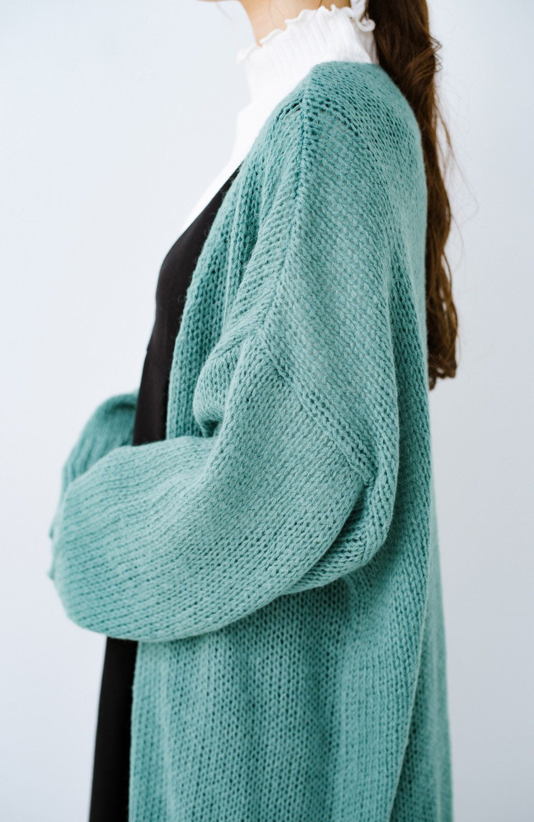 haco! ゆるゆるゆる編みで軽やかにかわいくなれる 前後ろ2WAYカーディガン <ミント>の商品写真11