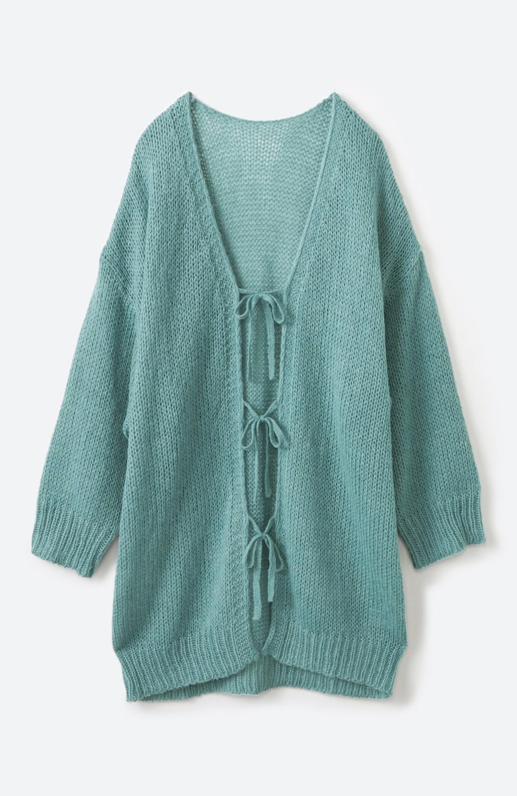 haco! ゆるゆるゆる編みで軽やかにかわいくなれる 前後ろ2WAYカーディガン <ミント>の商品写真18