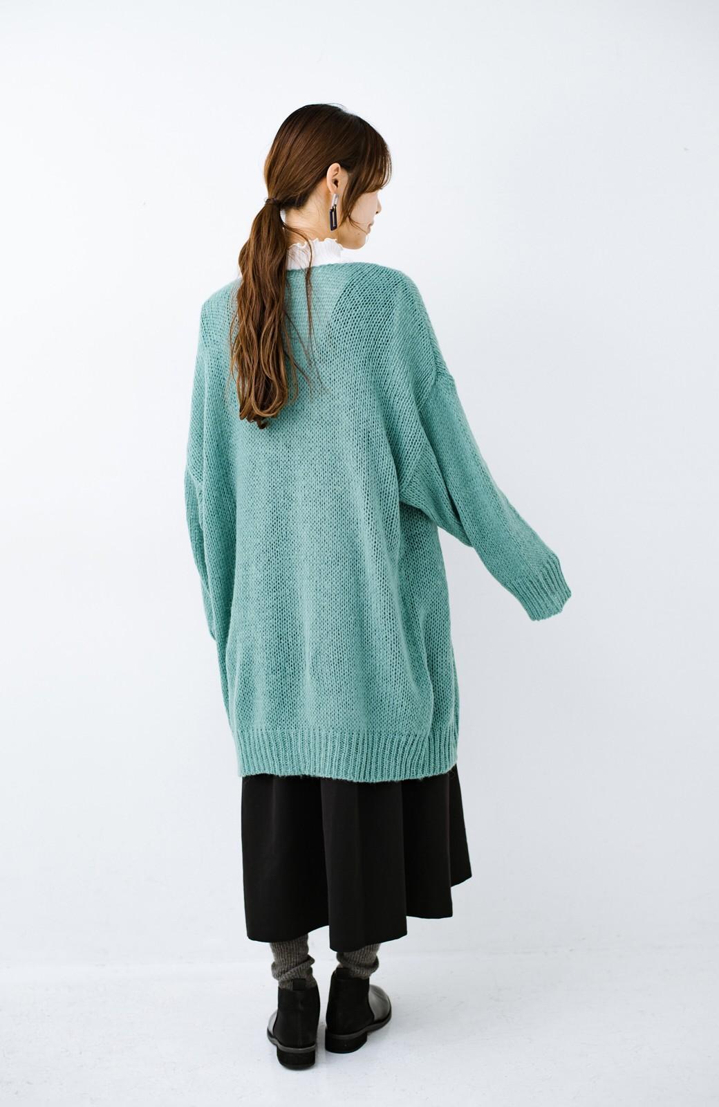 haco! ゆるゆるゆる編みで軽やかにかわいくなれる 前後ろ2WAYカーディガン <ミント>の商品写真16