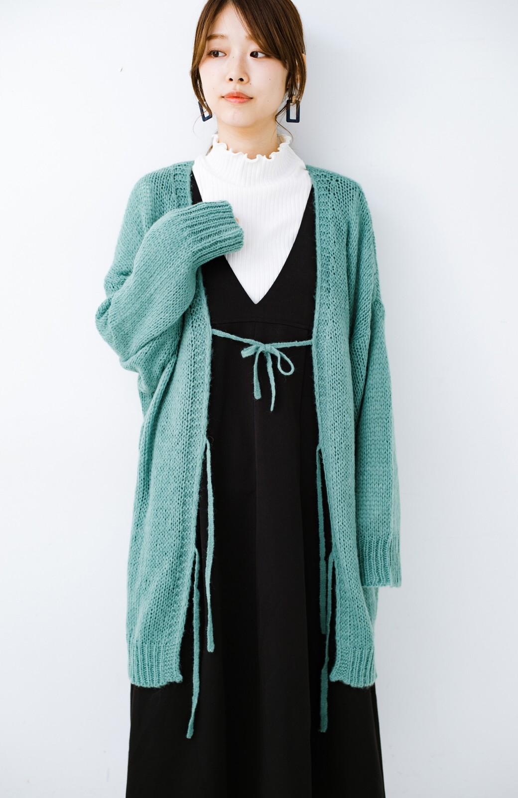 haco! ゆるゆるゆる編みで軽やかにかわいくなれる 前後ろ2WAYカーディガン <ミント>の商品写真4