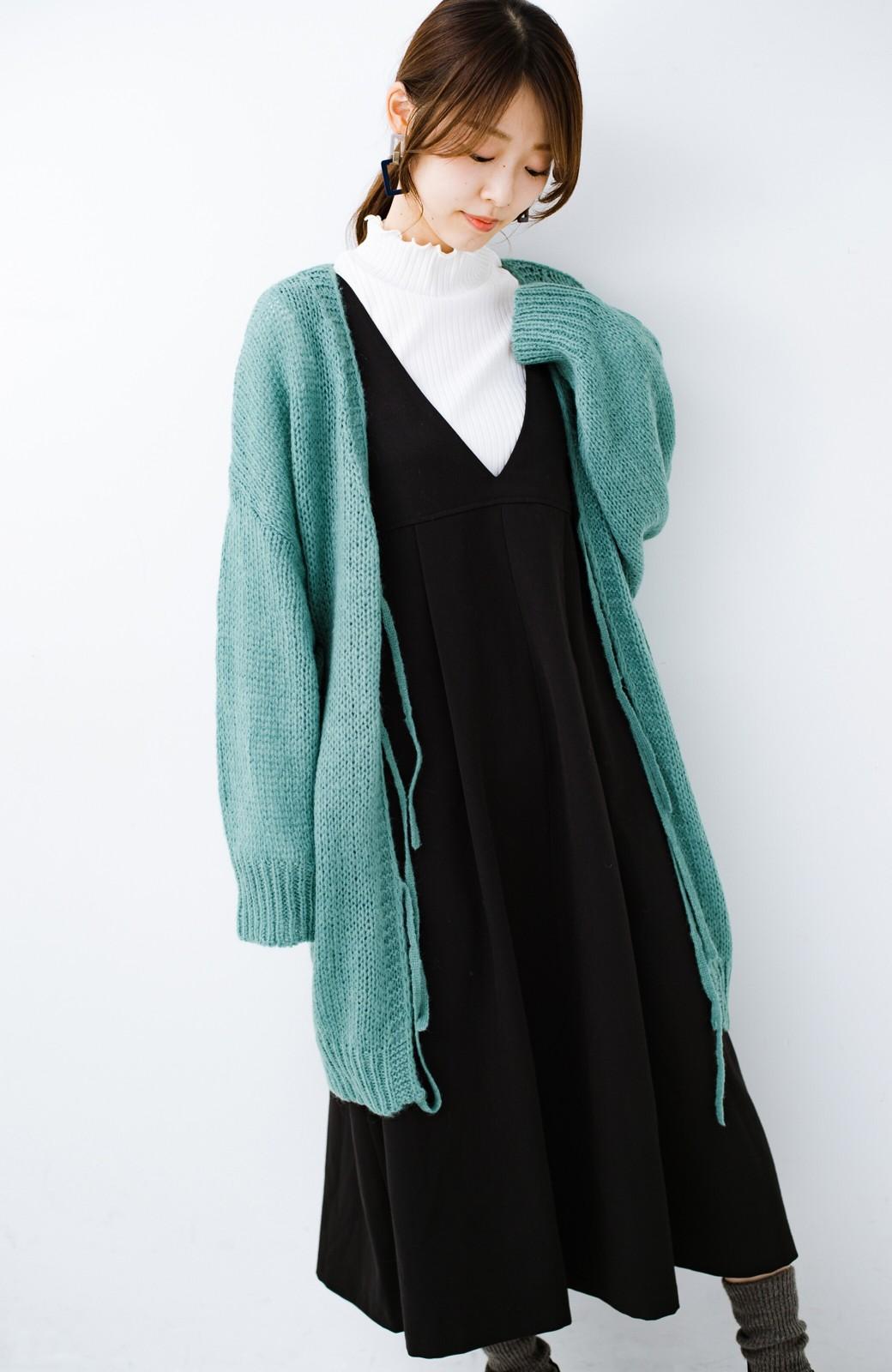 haco! ゆるゆるゆる編みで軽やかにかわいくなれる 前後ろ2WAYカーディガン <ミント>の商品写真2