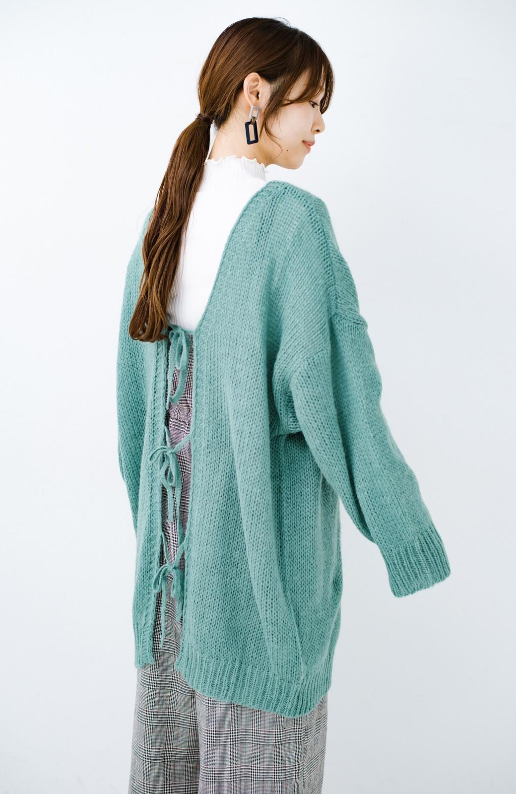 haco! ゆるゆるゆる編みで軽やかにかわいくなれる 前後ろ2WAYカーディガン <ミント>の商品写真5