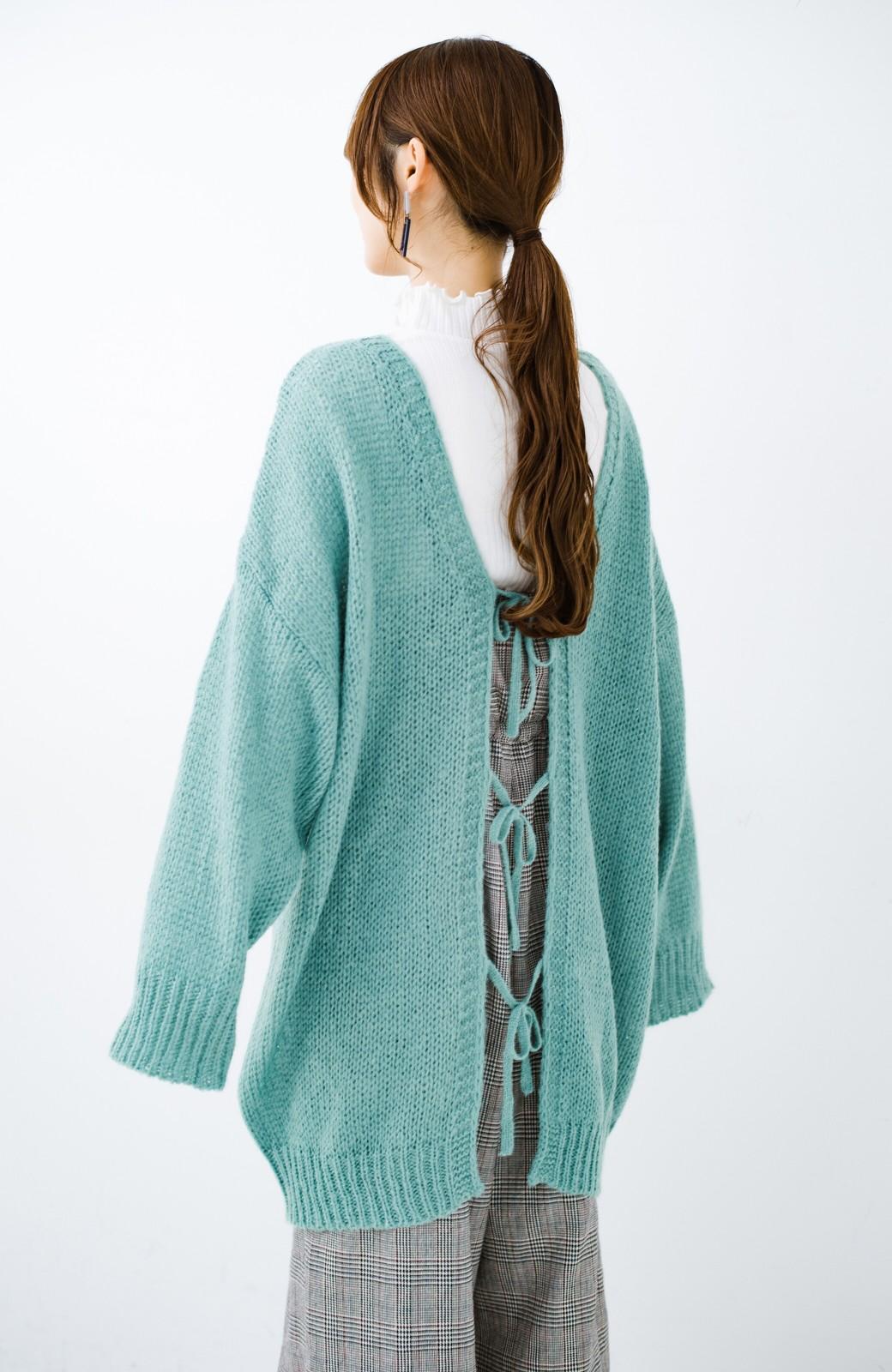 haco! ゆるゆるゆる編みで軽やかにかわいくなれる 前後ろ2WAYカーディガン <ミント>の商品写真7