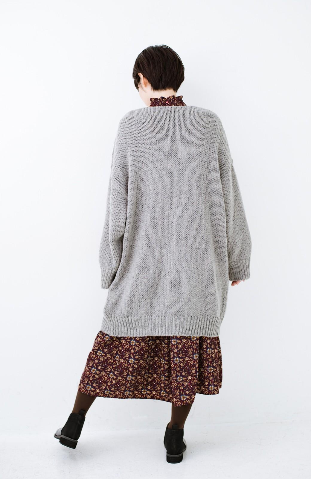 haco! ゆるゆるゆる編みで軽やかにかわいくなれる 前後ろ2WAYカーディガン <杢グレー>の商品写真15