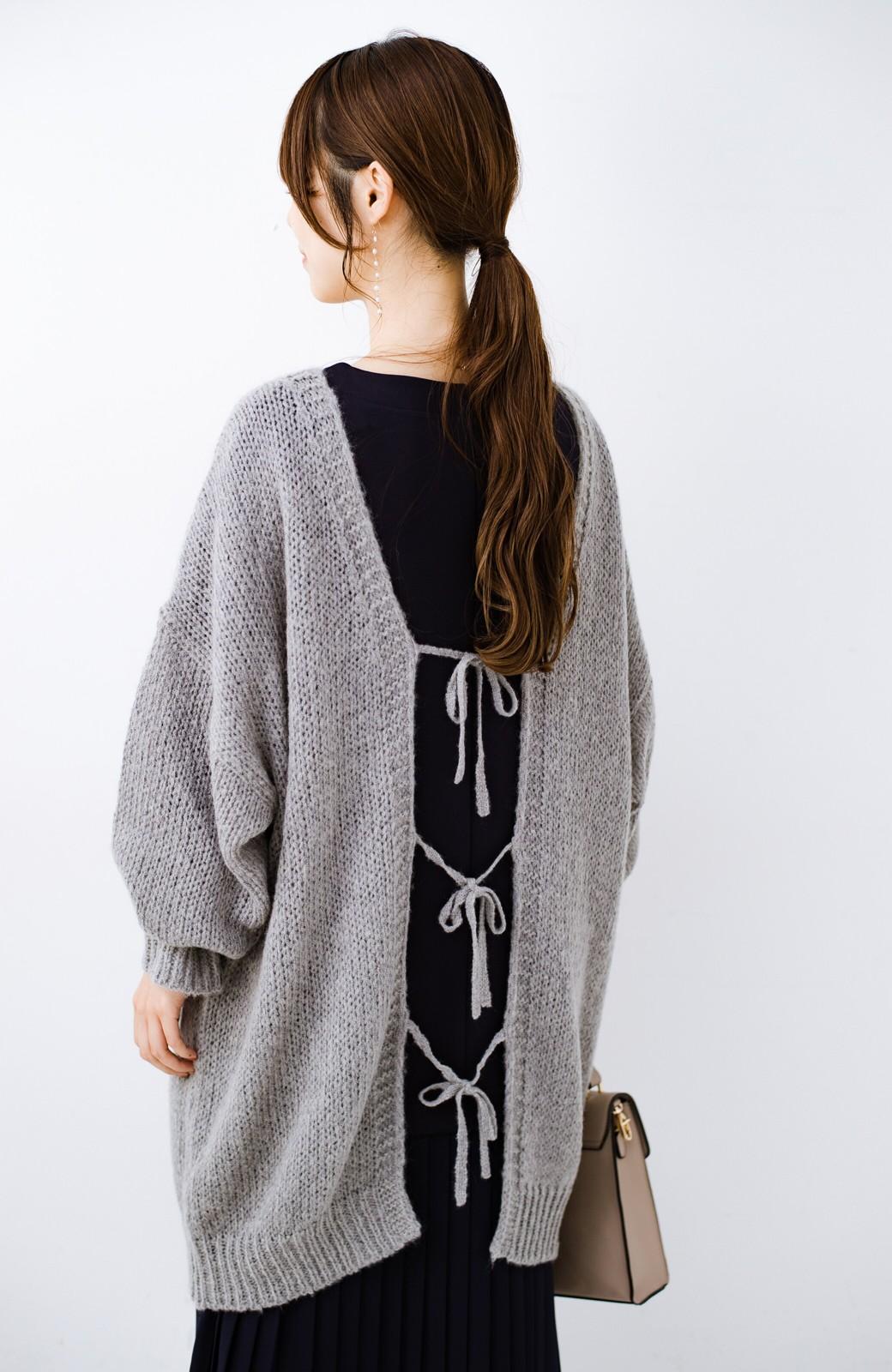 haco! ゆるゆるゆる編みで軽やかにかわいくなれる 前後ろ2WAYカーディガン <杢グレー>の商品写真22