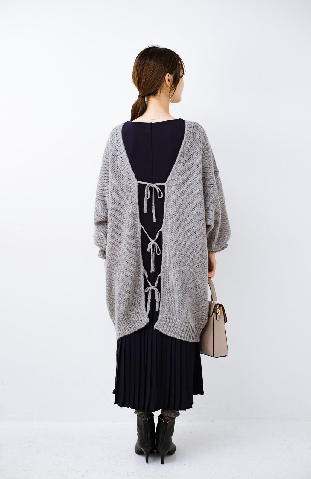 haco! ゆるゆるゆる編みで軽やかにかわいくなれる 前後ろ2WAYカーディガン <杢グレー>の商品写真7