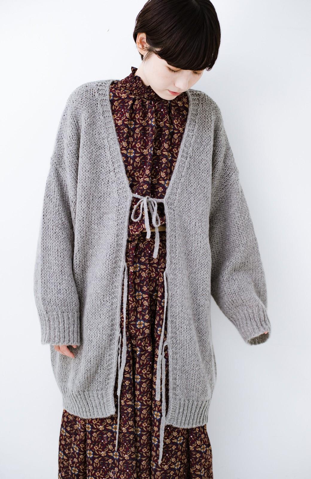 haco! ゆるゆるゆる編みで軽やかにかわいくなれる 前後ろ2WAYカーディガン <杢グレー>の商品写真9