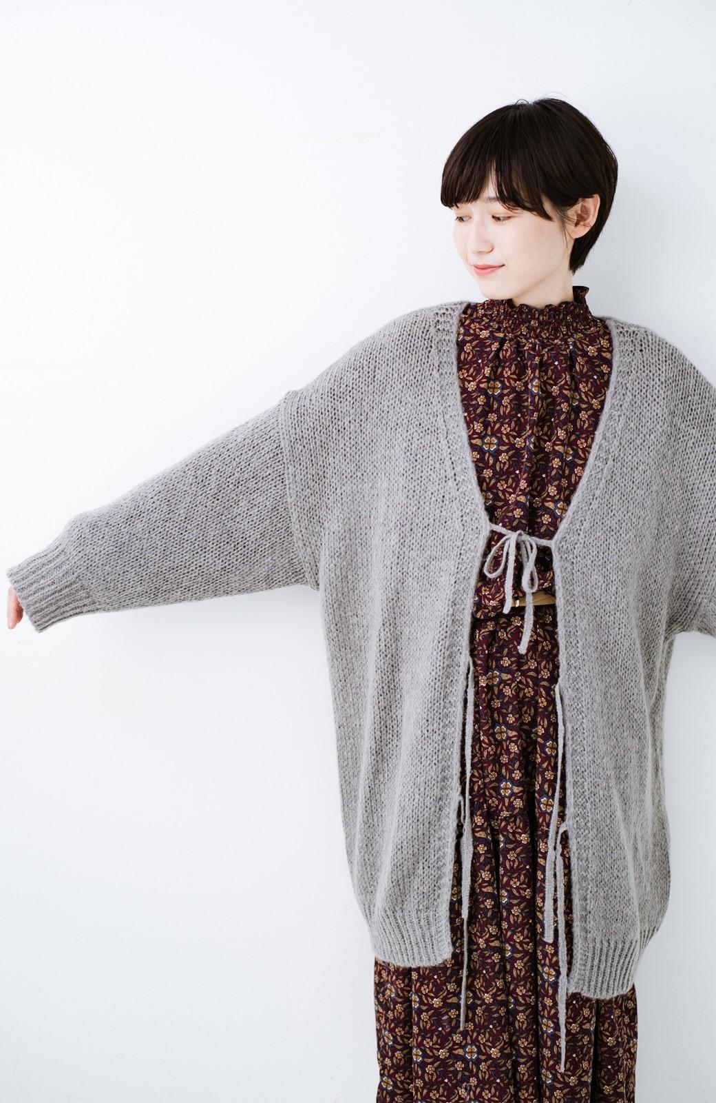 haco! ゆるゆるゆる編みで軽やかにかわいくなれる 前後ろ2WAYカーディガン <杢グレー>の商品写真17