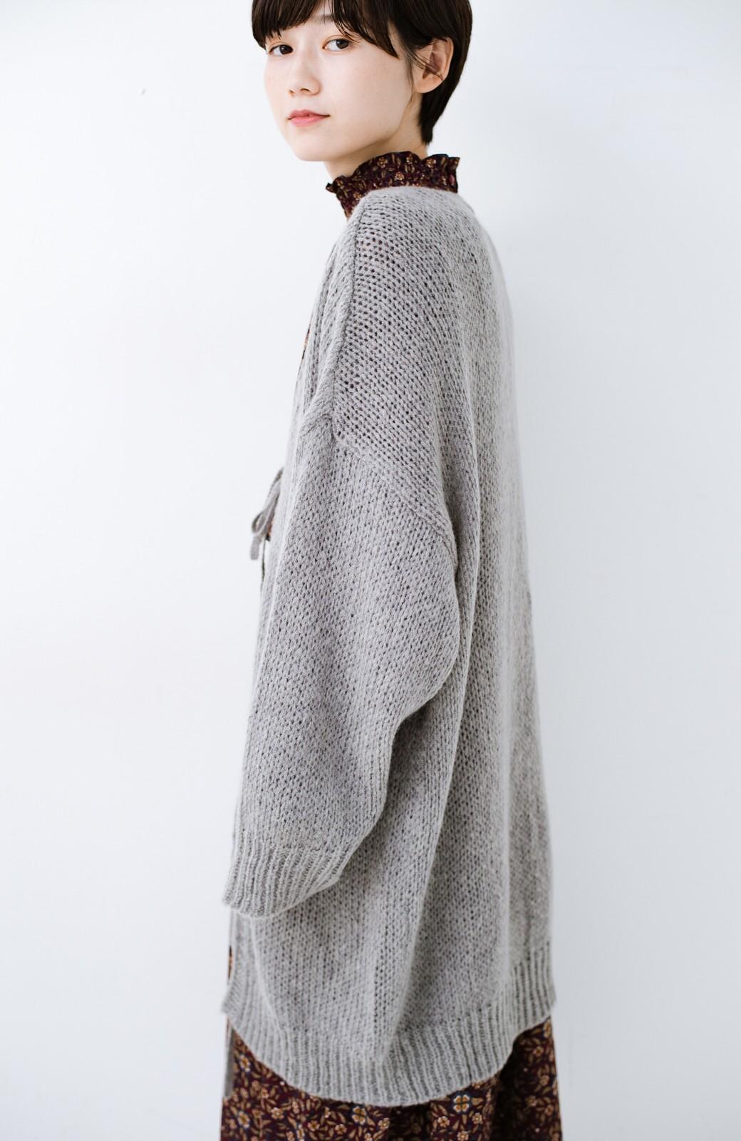 haco! ゆるゆるゆる編みで軽やかにかわいくなれる 前後ろ2WAYカーディガン <杢グレー>の商品写真20