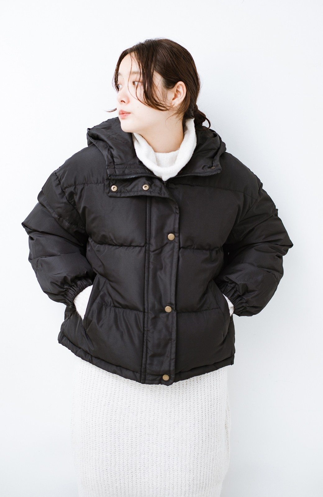 haco! 軽くてあったか!そのうえ短め丈でバランスよく見える中綿コート by ZAMPA <ブラック>の商品写真4