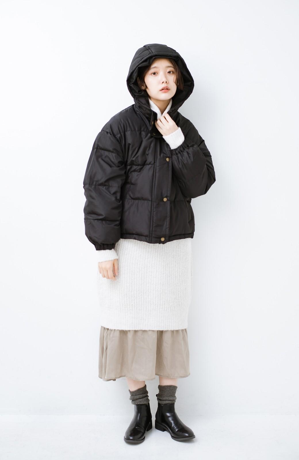 haco! 軽くてあったか!そのうえ短め丈でバランスよく見える中綿コート by ZAMPA <ブラック>の商品写真8