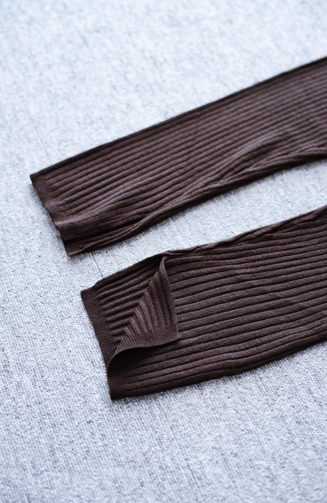 haco! あったか&オシャレに重ね着できる 便利なリブニットレギンス by style zampa <ブラウン>の商品写真3